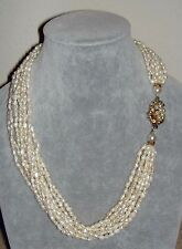 Vintage 10 Strands Waterfall Fresh Water Rice Pearl Unusual Clasp Necklace 20""