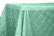 SPA TIFFANY BLUE 90 X 132 PINTUCK WEDDING TABLECLOTH TABLE CLOTH