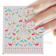Nail Art Water Decal Manicure Transfer Sticker DIY Colorful Deer Butterfly Arrow