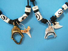 """2 Count SHARK Necklaces Great White 1Silver 1Bronze JAWS Opens & Closes 16""""-28"""""""