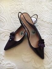 VGUC Madeline Women's Plum Leather Kitten 2'' Heel Pumps Shoes Size 9 1/2