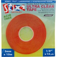 Stix2 15m x 3mm DOUBLE SIDED ULTRA CLEAR TAPE very  high tack