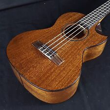 New KALA KA-SMHT-SC All Solid Mahogany Tenor Scalloped Cutaway Ukulele
