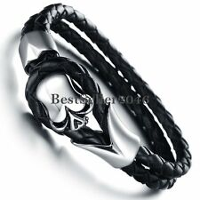 Gothic Biker Stainless Steel Skull Knot Braided Leather Bangle Bracelet for Boy