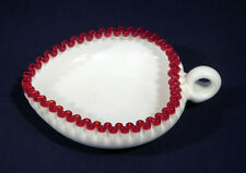 """Vintage Fenton Glass Heart Candy Dish with Red Trim Rare wow! Large Size 8-1/4"""""""