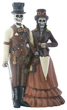 Steampunk Skeleton Loving Couple Figurine Statue Halloween Wedding Cake Topper
