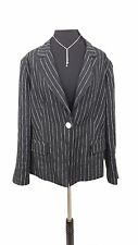 M&S Jacket Blazer Size 20 Black & White Striped Italian Linen Blend Pinstripe