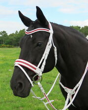 FSS GLISTEN Curve CRYSTAL SCARLET RED BLING WHITE German Comfort PATENT Bridle