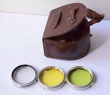 Set Of Three retro Collectible Photo Camera Filters Lifa And BW In Leather Case