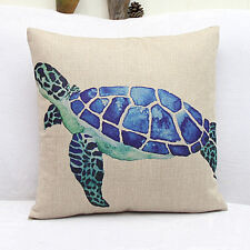 NEW Home Decor Work Cotton Linen Blue Turtle Cushion Cover Pillow Sofa 45cm