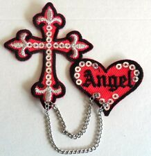 ANGEL HEART AND CROSS IRON/ SEW ON patch WITH CHAINS