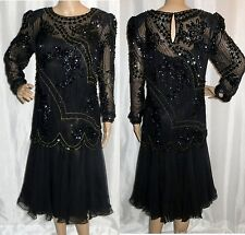 VTG GLAM PEAK EVENINGS BLACK AND GOLD BEADED SEQUIN TOP & DRESS DUO 8 AMAZING!!