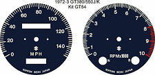 SUZUKI GT380 GT550 J/K/L/M/A/B SPEEDO REV COUNTER TACH GAUGE FACE OVERLAYS