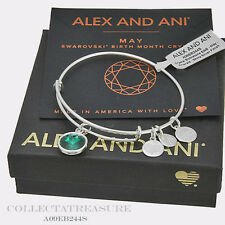 Authentic Alex and Ani May Birthstone Shiny Silver charm Bangle