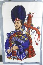 Irish Linen and Cotton Dish Towel Scotsman with Bagpipes Lamont reg. L878 New