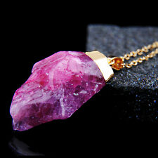 Natural Crystal Rose Red Quartz Stone Gemstone Pendant Women Irregular Necklace
