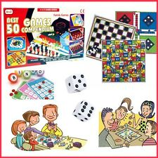 Kids 50 Games Set Compendium Fun Play Time Bingo Ludo Dice Chess Family Gift