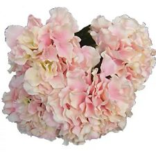 Artificial Silk Hydrangea Flowers Bouquet - 5 Large Blooms, Pale Pink, UK Stock