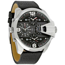 Diesel Uber Chief Black Dial Black Leather Four Time Zone Mens Watch DZ7376 NIB