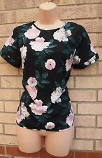 DOROTHY PERKINS BLACK PINK FLORAL GREEN SILKY FEEL TUNIC CAMI TOP BLOUSE 10 S