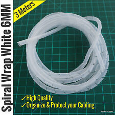 Spiral Wrap 6MM White. Wire Organizer. High quality. (3 Meters)