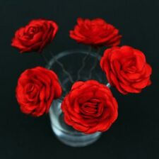 6 Boda nupcial Rojo Rosa Flor Pelo Prendedores Clips Grips Hecho A Mano
