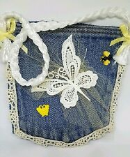 Hand Made Jean Denim Pocket Lace Butterfly Bee Purse Bag