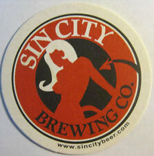 SIN CITY BREWING CO, 3 1/2 inch Beer COASTER Mat w/ WOMAN Las Vegas, NEVADA 2007
