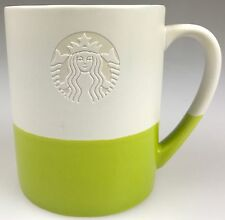 Original Starbucks Mug 2014 Hand Dipped Siren Etched Green Ceramic 2-Toned 14oz