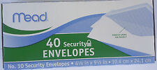 "SECURITY BUSINESS ENVELOPES #10  4 1/8"" x 9 1/2"" White 40 Envelopes/Box MEAD"