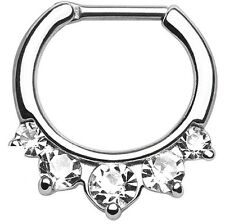 Five Pronged CZs 316L Surgical Steel Septum Clicker Ring 14 gauge