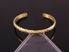 Vintage Tibetan 4 Brass Strands Delicately Braided Amulet Cuff Bracelet