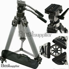 Pro Heavy Duty Tripod Video Camera W/ Fluid Pan Head for DSLR Camcorder Case NEW