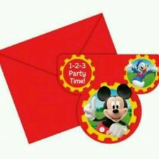 Mickey Mouse Clubhouse Party - 6 Invites + Envelopes - Free Postage in UK