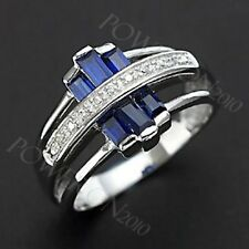 Jewellry Size 9 Blue Topaz 10KT Gold Filled Olive Cut Anniversary Womens Ring