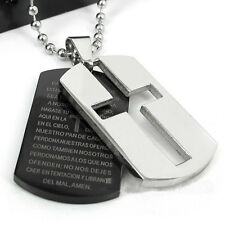 HOT Gift Unisex's Man Men's Stainless Steel Cross Bible Pendant Tag Necklace