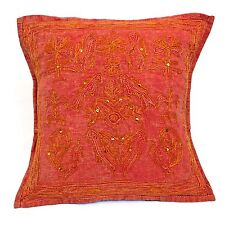 Handmade RED Cushion Covers Cotton Indian Peacocks Embroidery Stone wash Unique