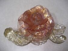 Vintage Venetian Glass Candlestick Holder Pink & Clear w/Gold Flakes Rose Flower