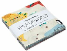 "Hello World Moda Charm Pack 42 100% Cotton 5"" Precut Quilt Squares by Abi Hall"