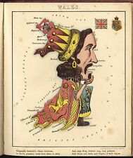 Map of Wales Satire Bewitched Owen Glendower 1868 Old Vintage, Reprint 10x8 Inch