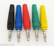 20pcs Free Solder Nickel Plated 4mm Banana Plug Audio/Power Connector 5 Colors