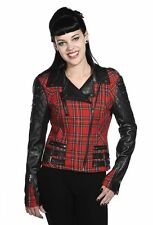 Banned Tartan Faux Leather biker jacket quilted Goth Punk UK 10 SALE RRP £55