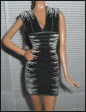 DRESS BARBIE HERVE LEGER MAX AZRIA DOLL MODEL MUSE BLACK WHITE BANDAGE COCKTAIL