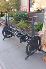 "55"" L Unique crank table base iron gear industrial design adjustable spectacular"