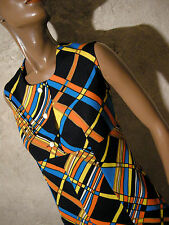 CHIC VINTAGE ROBE 1970 VTG DRESS 70s MOD GRAPHIC KLEID 70er ABITO ANNI 70  (40)