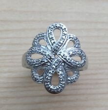 2 of 1mm GENUINE Diamond & Diamond accented .925 Sterling Silver Ring #7