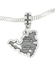 STERLING SILVER DANGLE SAINT MARTIN MARTEN VACATION ISLAND MAP EUROPEAN  BEAD