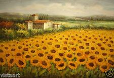 "Quality Oil Painting Stretched on Canvas 24""x36""- Majestic Field of Sunflowers"