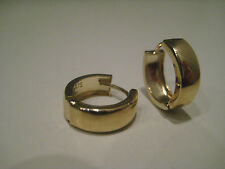 9ct yellow gold all shiny classic huggies hoop earrings