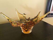 Mid Century Modern  Amber Chalet Lorraine Stretch Art Glass Sculpture